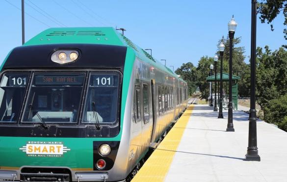 Front view of a Sonoma Marin Area Rapid Transit train